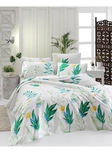 EnLora Home %100 Doğal Pamuk Pike Takımı Çift Kişilik Arta Yeşil Yeşil